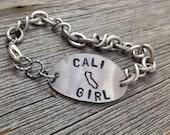 CALI GIRL Bracelet   Handstamped California Outline Map   FREE Shipping