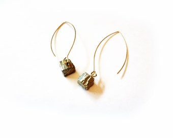 pyrite stone earrings, raw natural free form