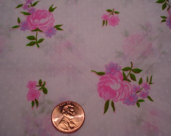 QUARTER YARD vintage fabric WHITE sheer polka dot with pink flowers