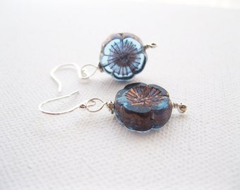 Aqua Purple Blossom Bead Sterling Silver Earrings UK Seller Stylish Floral Earrings With Copper Highlights Fashion Jewellery
