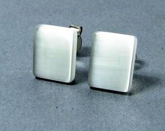 White Post Earrings Rectangle Fiber Optic Glass Stud Earrings Stainless Steel Cat's Eye Earrings