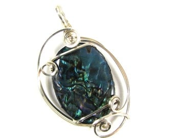 Abalone shell sterling silver wire sculpted pendant