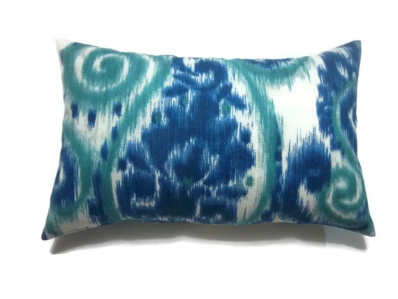 Navy And Teal Throw Pillows: Decorative Pillow Cover Ikat Paisley Design By