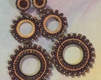 Large Boho Double Hoop Earrings Amethyst Goddess Beaded Earrings Big Statement Jewelry