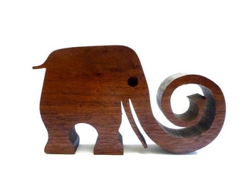 SUMMER SALE Modernist Carved Wood Elephant
