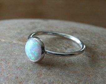 Opal Sterling Silver Stacking Ring, 8 mm, Size 2 to 15,  October Birthstone, Stacker Ring, Womens Opal Ring, White Opal Ring, Gift for Her