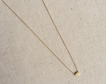 Petit Heart necklace in brushed silver or gold from Girls Day Out