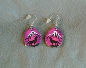 Antler Earrings Howling Wolf Dusk-hand painted