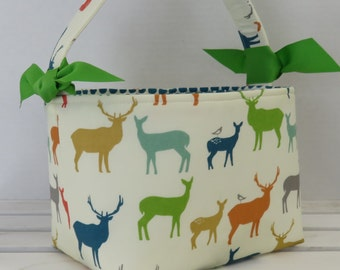 Fabric Easter Basket Candy Bucket Bin Storage Container - Multi Color Elk on Cream Fabric