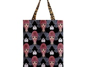 YES NO GOODBYE tote bag. Big Eyed Moth Girl with Ouija Planchettes by Megan Besmirched