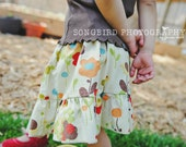 special listing for Sam - fun floral and small floral -  girls skirt with bottom ruffle band -  custom sizes