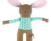 Brown Linen Bunny Rabbit Soft Toy  - New Baby Gift - Peacock