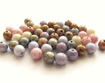 Opaque Pastel Smooth Round Czech Glass Bead Mix with Luster Finish, 6mm - 50 pieces