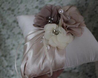 """Ivory Ring Bearer Pillow with Shades of Taupe, Beige and Ivory 3"""" Flowers"""