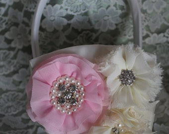 Cream or White Flower Girl Basket Layered Flower in Pink and Ruffled and Frayed Chiffon Flowers all with Rhinestones and Pearls