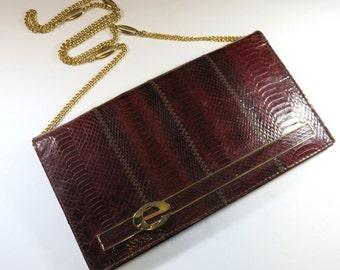 SJK VINTAGE -- Esteve, E Steve Signed Deep Brick Red Snakeskin and Leather Convertible Clutch Purse, Spain (1970's)
