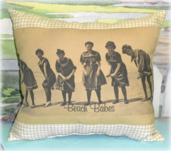 Vintage Inspired Victorian Beach Babes Handmade Printed Pillow, Beach Decor,Nautical Decor,Custom Pillow