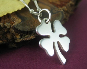 Silver Four Leaf Clover Necklace Modern Jewelry Gift for Women Everyday Jewelry Under 50 Symbol Necklace Good Luck Charm