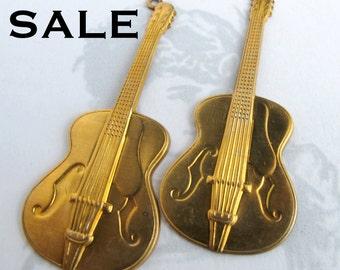 Brass Guitar Pendants (2X) (M780) SALE - 25% off
