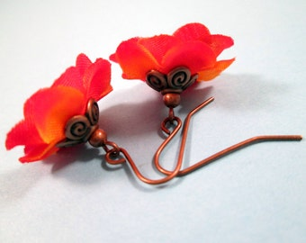 Flower Earrings, Red Orange Blossoms, Fabric Flowers and Copper Dangle Earrings, FREE Shipping U.S.