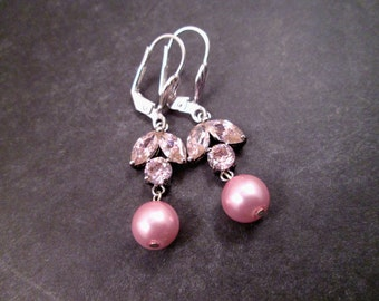 Cubic Zirconia Earrings, Pink Glass Leaves and Pearls, Silver Dangle Earrings, FREE Shipping U.S.