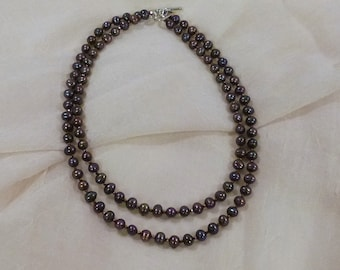 Bronze Iris Freshwater Pearl Double Strand Necklace