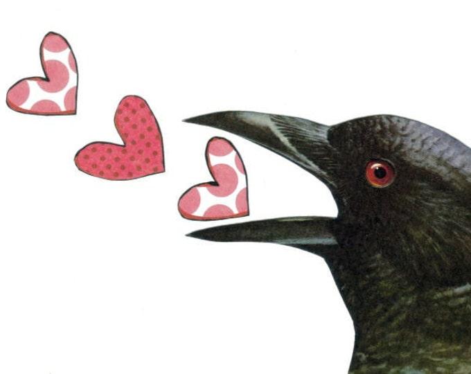 Prim Black Crow Art Collage, Love Bird Heart Artwork