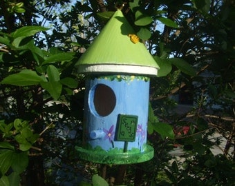 Handpainted Birdhouse - Small - Blue
