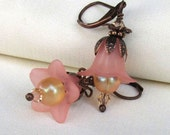 Peach Lucite Flower Earrings, Antique Copper, Swarovski Lt Peach Crystals, Matte AB Glass, Pastel Earrings, Floral Jewelry