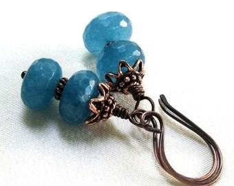 Blue Angelite Earrings, Antique Copper Handmade Earwires, Gemstone Dangle Earrings, Blue Gemstone Jewelry