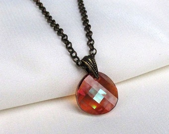 Checkerboard Red Crystal Necklace, Antique Brass Rollo, Swarovski Crystal Disc Pendant, Aurora Borealis Red Magma