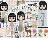 ART TEA LiFE Oh Deer Journal Collage Sheet digital file printable download decoupage clip art scrapbook paper dolls