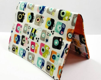 Passport case / passport holder / passport cover : Riley Blake Snapshots Fabric - Happy Colorful Cameras