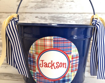 custom personalized 10 QUART name bucket with preppy plaid boy design