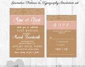 Printable  - Geometric - Arrow - Heart - Kraft Paper and White Typography Style INVITATION