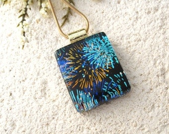 Small Fireworks Necklace, Dichroic Fused Glass Jewelry, Fused Glass Pendant, Dichroic Jewelry, Dichroic Pendant, Gold Necklace 041615p100