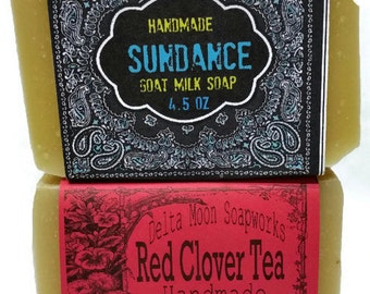 Ready to ship Red Clover Tea and Sundance Goat Milk Soaps, natural handmade soap, Honey Oatmeal Soap, Citrus Soap, cold process soap, shave