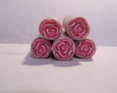Pink and white fantasy raw polymer clay rose cane for making beads