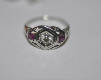Art Deco 1920's 18K White Gold Diamond and Ruby Ring