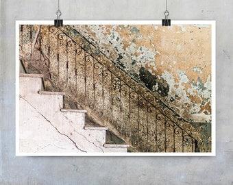 Cuban Art Print - stairs banisters worn old hall house home entrance foyer Havana - 10x8 16x20 20x30 inch fine art photography wall art