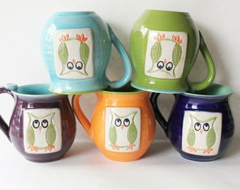 ONE Owl Pottery Mug - Choose Your Own Colors - Customizable - 3 week wait