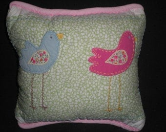 Girls Accent Pillow Made With Pottery Barn Kids blue pink green birds Flower Bedding