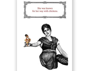 She Was Known For Her Way With Chickens - Blank Card
