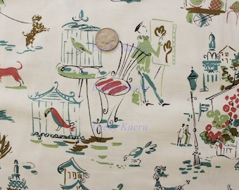 Kathy Hall, Ooh La La Paris Color T OOP Fabric - REMNANT Size 15 Inches by 44 Inches