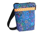 Hip Zip Purse - Cell Phone pocket inside and slip pocket outside - Cross Body Bag - Borsa Bella - Murano Glass  Fabric