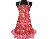 Strawberry Apron for Women , Red and White Check Ruffle , Retro Kitchen Decor