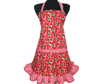 Strawberry Apron for Women , Red and White Check Ruffle , Retro Kitchen Decor