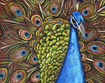 Peacock #3 6x6 inch print on wood
