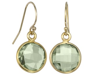 Green Quartz Bezeled Round Earring on 14k GF Ear-wires, Mother's Day, Graduation, Gifts her Her, Everyday Earrings