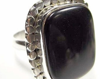 Sale Black Onyx and Sterling Silver Ring Size 8-1/4